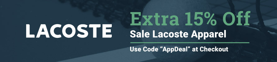 EXTRA 15% Off Lacoste Apparel