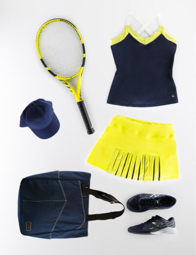 Navy and Yellow Women's Outfit