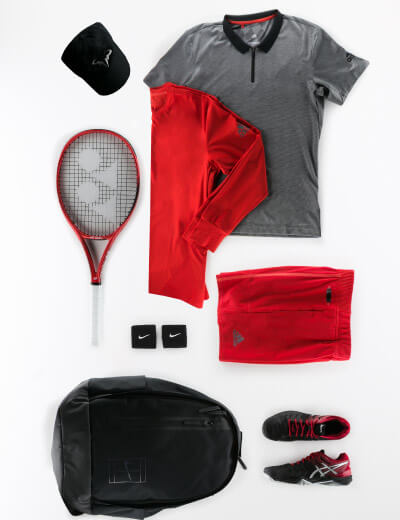 Red Gray and Black Men's Outfit
