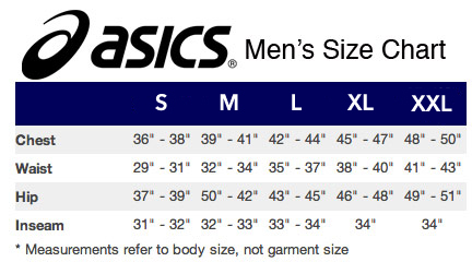 asics size chart width