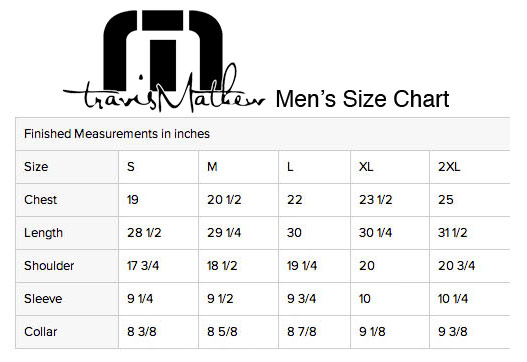 Travis Mathew Mens Size Chart | Travis Mathew