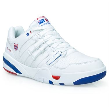 K Swiss SI-18 International Mens Tennis Shoe - White/Classic Blue/Ribbon Red