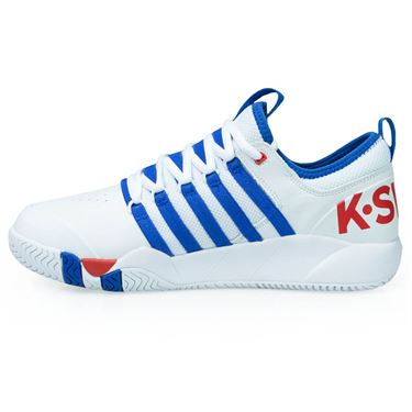 K Swiss SI-18 Fusion L Mens Tennis Shoe - White/Strong Blue/High Risk Red