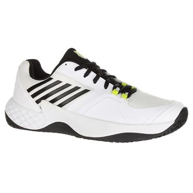 K Swiss Aero Court Mens Tennis Shoe - White/Black/Neon Yellow
