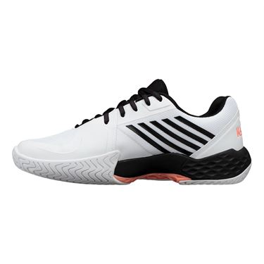 K Swiss Aero Court Mens Tennis Shoe White/Black/Soft Neon Orange 06134 134