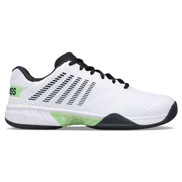 K Swiss Hypercourt Express 2 Mens Tennis Shoe White/Blue Graphite/Soft Neon Green 06613 115