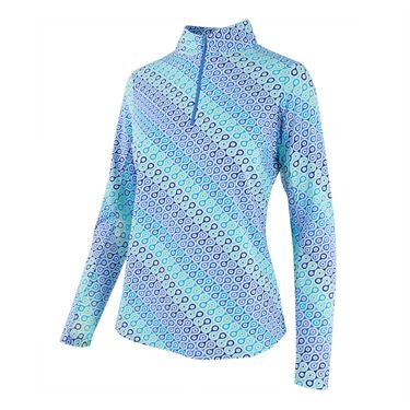 Ibkul Mock Neck 1/4 Zip Long Sleeve - Blue/Combo