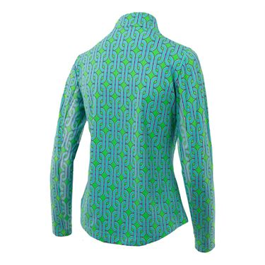 Ibkul Andrea Mock Neck 1/4 Zip Long Sleeve - Kelly Green