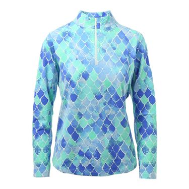 Ibkul Ariel Mock Neck 1/4 Zip Long Sleeve - Blue