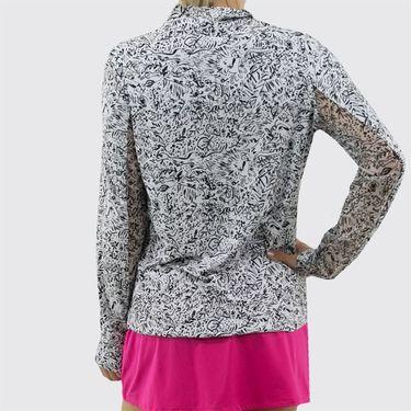 IBKUL Long Sleeve Mock 1/4 Zip Top Womens White/Black 10290