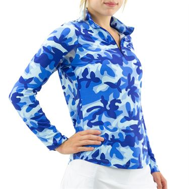 Ibkul Camo Long Sleeve Mock Top Womens Camo Navy/Royal 10401 CNR