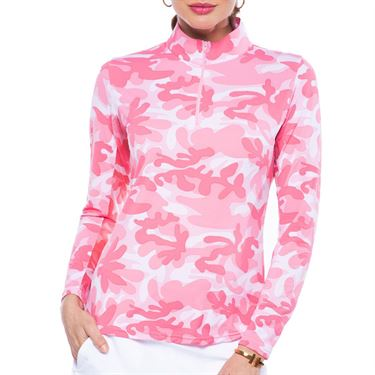 Ibkul Camo Long Sleeve Mock Top Womens Watermelon 10401 WTM