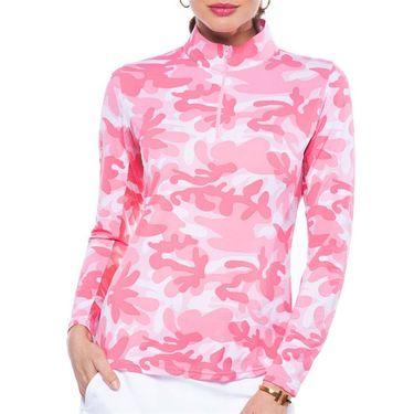 Ibkul Camo Long Sleeve Mock Top Womens Watermelon 10401 WTM
