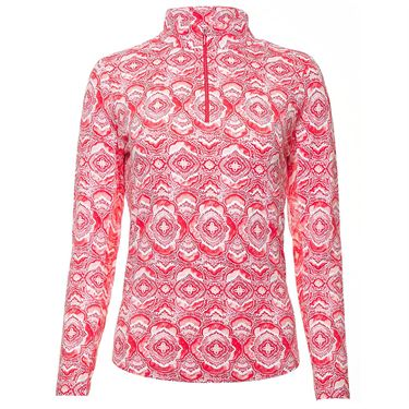 Ibkul Venetian Tiles Long Sleeve Zip Mock Top Womens Melon 10408 MLN