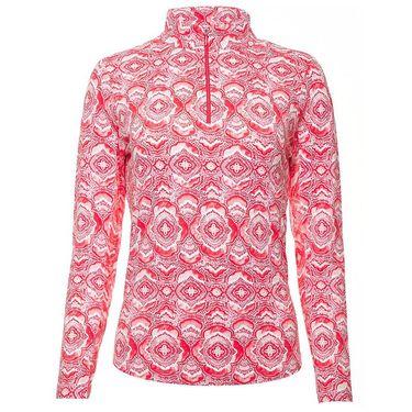 Ibkul Venetian Tiles Long Sleeve Zip Mock Top Womens Melon 10408 MLN