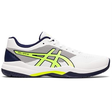 Asics Gel Game 7 Mens Tennis Shoe White/Safety Yellow 1041A002 106