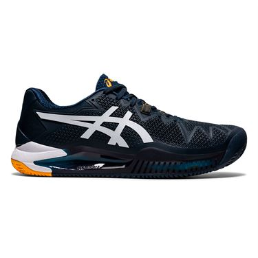 Asics Gel Resolution 8 Clay Mens Tennis Shoe French Blue/White 1041A076 403