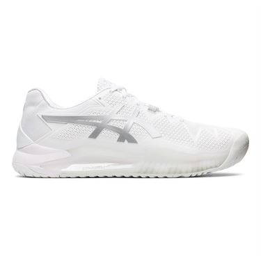 Asics Gel Resolution 8 Mens Tennis Shoe White/Pure Silver 1041A079 100