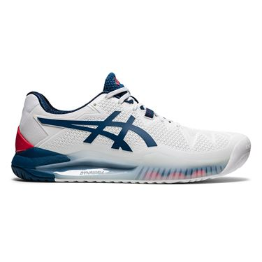 Asics Gel Resolution 8 Mens Tennis Shoe White/Mako Blue 1041A079 103