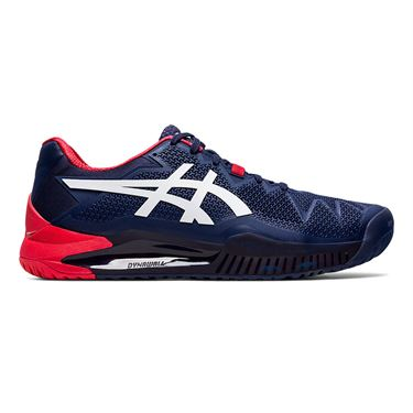 Asics Resolution 8 Mens Tennis Shoe Navy/White/Red 1041A079 400