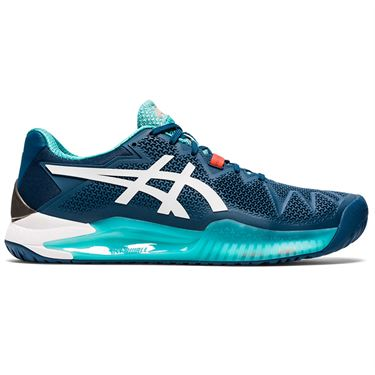 Asics Gel Resolution 8 Mens Tennis Shoe Mako Blue/White 1041A079 401