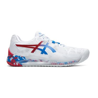 Asics Gel Resolution 8 LE Mens Tennis Shoe White/Electric Blue 1041A111 100