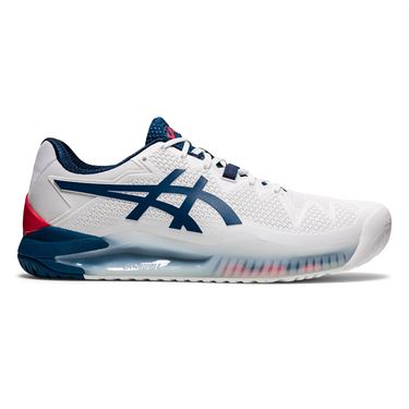 Asics Gel Resolution 8 Mens Tennis Shoe White/Mako Blue 1041A113 103