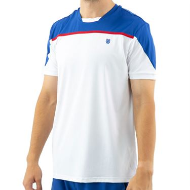 K Swiss Hypercourt Express Block 2 Tee Shirt Mens White/Dark Blue 104238 137