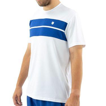 K Swiss Hypercourt Express Crew Tee Shirt Mens White/Dark Blue 104239 137