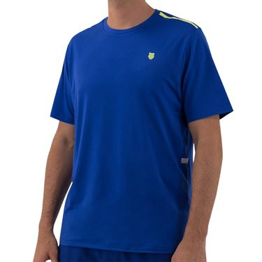 K Swiss Hypercourt Crew 2 Tee Shirt Mens Web Blue/Sharp Green 104239 487