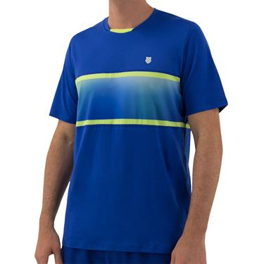 K Swiss Hypercourt Express Crew 2 Tee Shirt Mens Web Blue/Sharp Green 104241 487