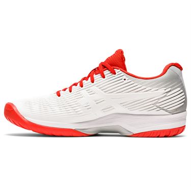 Asics Solution Speed FF Womens Tennis Shoe White/Fiery Red 1042A002 104