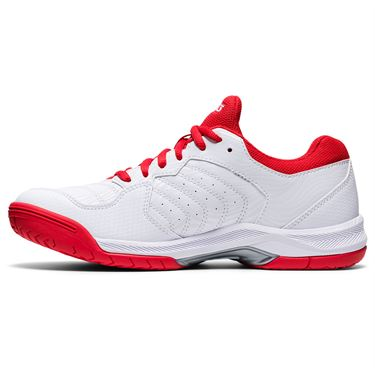 Asics Gel Dedicate 6 Womens Tennis Shoe White/Fiery Red 1042A067 107