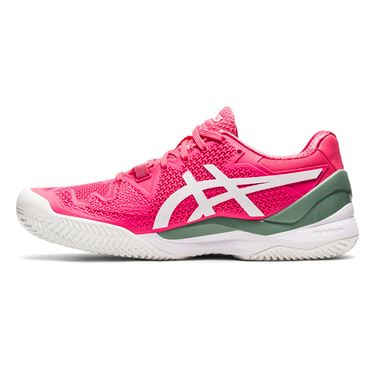Asics Gel Resolution 8 Clay Womens Tennis Shoe Pink Cameo/White 1042A070 702