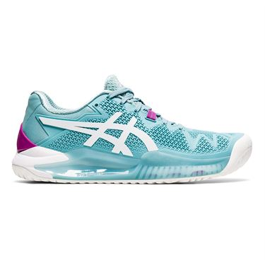 Asics Gel Resolution 8 Womens Tennis Shoe Smoke Blue/White 1042A072 403
