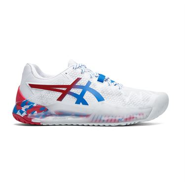 Asics Gel Resolution 8 LE Womens Tennis Shoe White/Electric Blue 1042A095 100