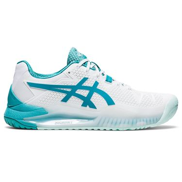 Asics Gel Resolution 8 Womens Tennis Shoe White/Lagoon 1042A097 106