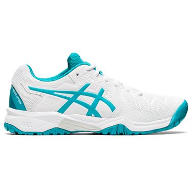 Asics Gel Resolution 8 GS Junior Tennis Shoe White/Lagoon 1044A018 106