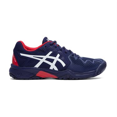 Asics Junior Gel Resolution 8 GS Tennis Shoe Peacoat/Classic Red 1044A018 400