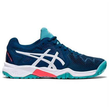 Asics Gel Resolution 8 GS Junior Tennis Shoe Mako Blue/White 1044A018 402