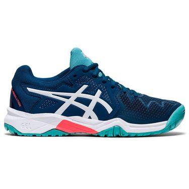 Asics Gel Resolution 8 GS Junior Tennis Shoe Mako Blue/White 1044A018 402