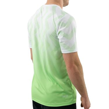 K Swiss Hypercourt Print Crew Shirt Mens White/Soft Neon Green 104911 126
