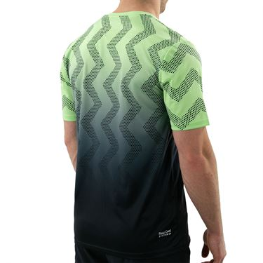 K Swiss Hypercourt Print Crew Shirt Mens Soft Neon Green/Blue Graphite 104911 333