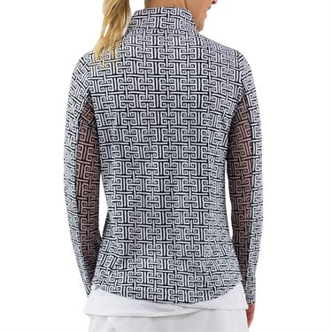 IBKUL Long Sleeve Zip Mock Womens Black/White 10512