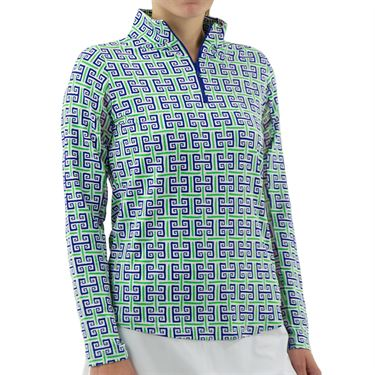 IBKU Long Sleeve ¼ Zip Mock Top - Navy/Green