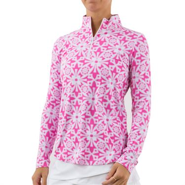 IBKUL Long Sleeve Zip Mock Womens Pink 10514
