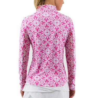 IBKUL Long Sleeve Zip Mock Womens Pink 10514