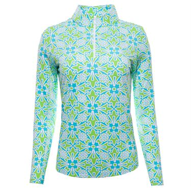 IBKUL Long Sleeve Zip Mock Top Womens Turquoise/Lime 10514 TQLMû