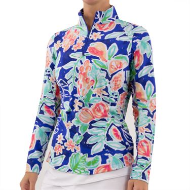 IBKUL Long Sleeve Zip Mock Womens Navy/Multi 10517