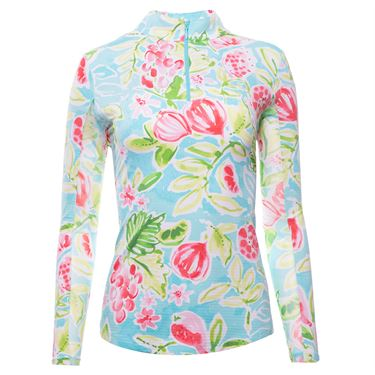 IBKUL Long Sleeve Zip Mock Top Womens Seafoam/Multi 10517 SMMLû